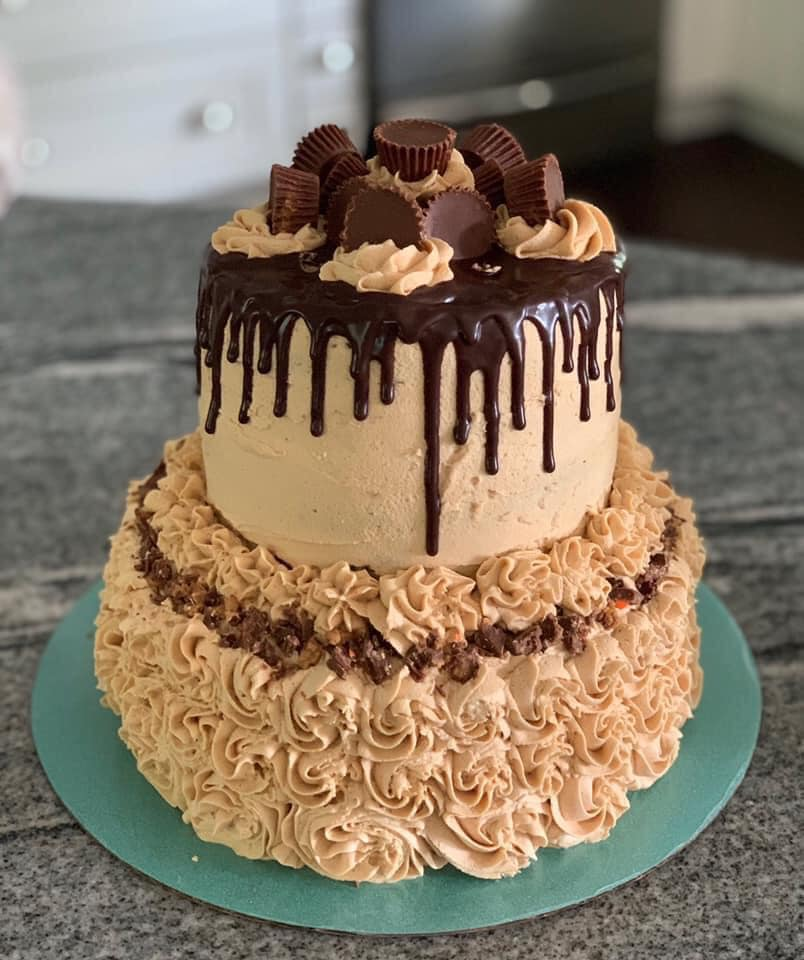 reeses cup tiered cake - gypsy bakes